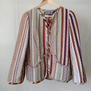 Vintage Leo Chevalier Quilted Jacket Open Front Striped Size Small